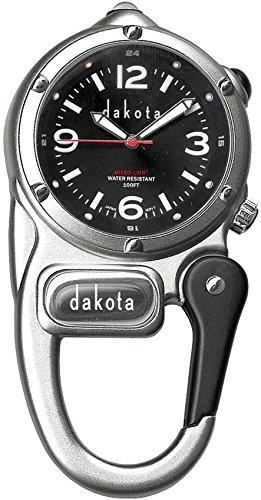 Dakota Clip Watch with LED Flashlight, Mini Clip Microlight Watch, Silver/Black