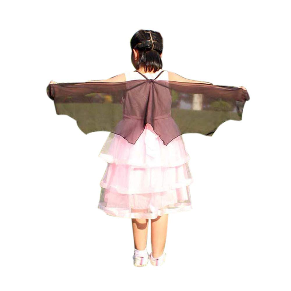 Child Kids Butterfly Wings Girls Bohemian Butterfly Print Shawl Unisex Children Pashmina Costume Accessory ICODOD(Black)