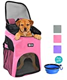 Pet Carrier Backpack for Small Dogs Cat Rabbit, Breathable Mesh Pup Pack Outdoor Travel Carrier for Walk, Hiking, Cycling by Pawsse Pink