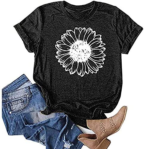 Sobrisah Womens Sunflower Printed Shirts Short Sleeve Tops Teen Girls Cotton Casual T-Shirt Graphic Tees