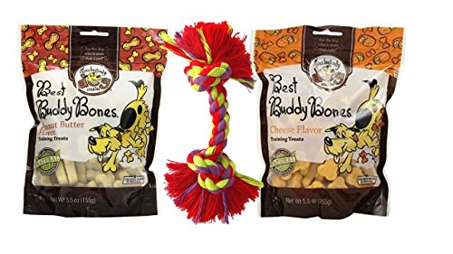 Exclusively Dog Best Buddy Bones All Natural Training Treats 2 Flavor Variety Bundle with Toy, 1 Each: Cheese and Peanut Butter (5.5 Ounces)