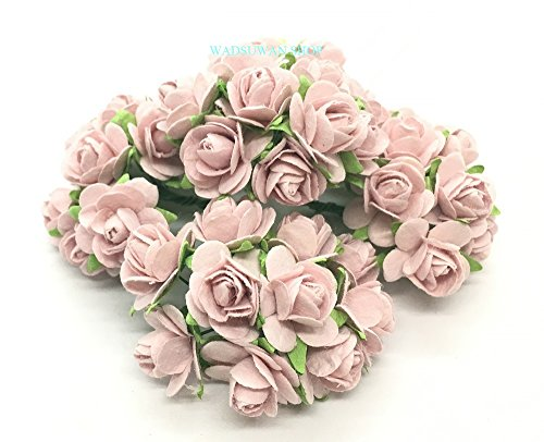50 pcs Light Pink Color Rose Mulberry Paper Flower 20 mm scrapbooking wedding doll house supplies card. By WADSUWAN SHOP