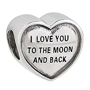 Amazon Com I Love You To The Moon And Back 925 Sterling