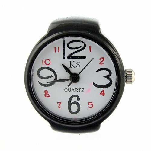 Youyoupifa Arabic Numbers Quartz Alloy Finger Ring Watch (White&Black)
