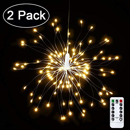 2 Pack LED Decorative Lights, 120 LED 8 Modes Dimmable Fairy Lights, Twinkle Starburst Lights, Waterproof Battery Operated with Remote Control for Home, Patio, Parties, Wedding, Christmas (Warm - Ball Starburst