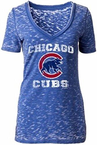 Chicago Cubs Ladies T-Shirt V-neck Burnout Walking Bear 11834 (Medium)