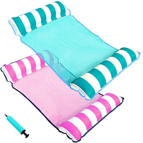 PARENTSWELL 2 Pack Water Hammock Float, Portable Pool Floats for Adults Floating Hammock for Pool Swimming with Air Pump (DEEPPINK/LIGHTSEAGREEN)
