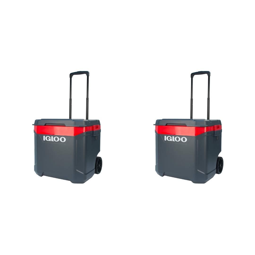 Igloo Latitude 60qt Roller Cooler (2 Set, Gray/Red)
