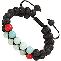 Lava Wrap Braid Couple Bracelet - Adjustable Essetial Oil Diffuser Perfume Beaded Distance Bracelets for Women Mens