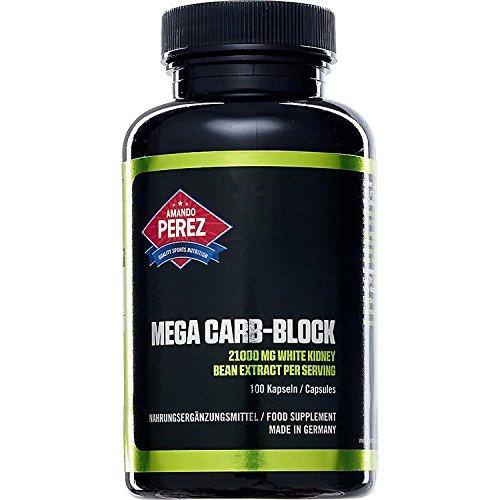 Mega Carb Blocker - 21000 mg - White Kidney Bean (Weißes Kidneybohnen-Extrakt (Phaseolus vulgaris)) und Fenugreek - 100 Kapseln - Gigantische 22050 mg Hardcore Kohlenhydratblocker für fettfreie Muskelmasse in nur einer Tagesdosis von 3 Kapseln