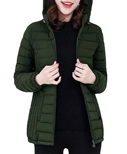 5075ca0442d SELX Women Pure Color Quilted Warm Plus Size Slim Fit Puffer Down Jacket  Army Green US