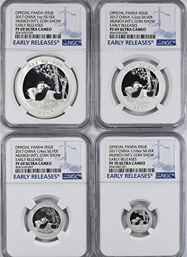 CN 2017 Chinese Silver Panda China 2017 Silver 1/10 oz, 1/4 oz, 1/2 oz and 1 oz. Official Panda Issue Set Munich International Coin Show Early Releases NGC Proof-69/70 UC (4 Coins) With Original Government Packaging PR-69