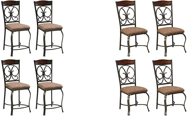 Signature Design by Ashley Glambrey Counter Height Bar Stool, Brown & Glambrey Dining Room Chair, Brown