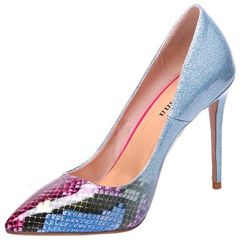 on blue Heel Pump Python Woman Glitter Slip High Shoes ZAPROMA Stiletto aUqY8