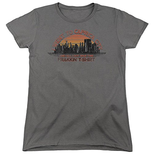 Battlestar Galactica Womens Caprica City T-Shirt, Medium, Charcoal - Battlestar Galactica Caprica City