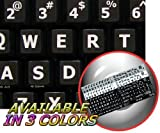 ENGLISH US LARGE LETTERS KEYBOARD STICKERS NON TRANSPARENT BLACK BACKGROUND (Upper Case)