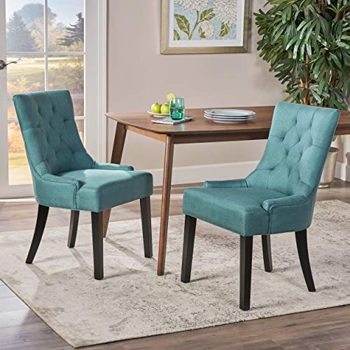 Great Deal Furniture Stacy Dark Teal Fabric Dining Chairs (Set of 2)
