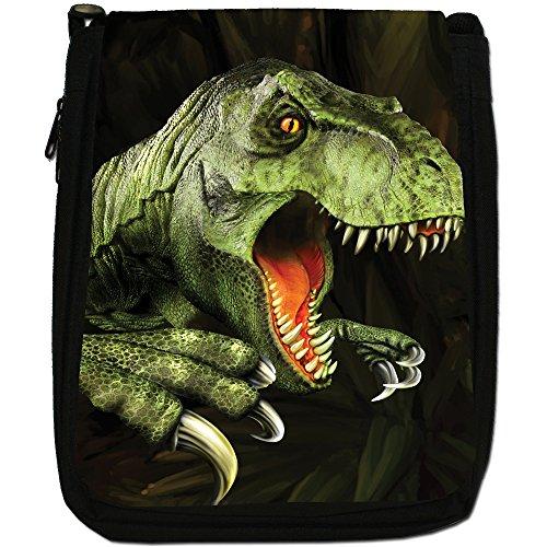 A nbsp; Nero Tela M Dinosaur Jurassic Terribile Lucertola Di Tracolla WwO7gS06q