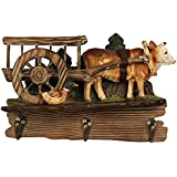"""Comfy Hour 6"""" Farm Animals Hand Carved Wooden Triple Coat Hooks Clothes Rack Decorative Wall Hanger - Cow"""
