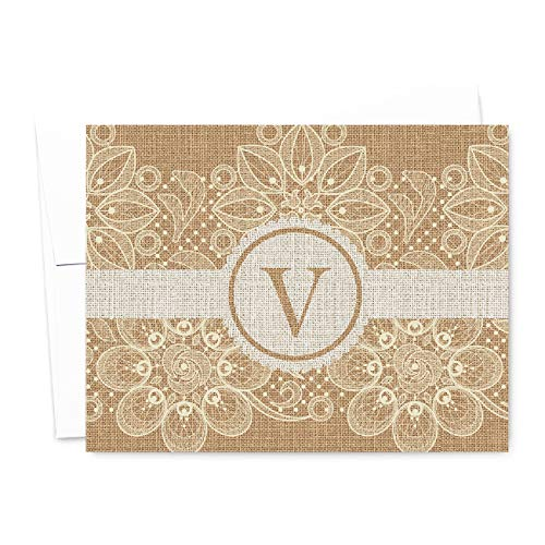 Burlap and Lace Monogram Folded Personalized Note Cards, Thank You Cards, Rustic Country Chic, Includes Envelopes (A2-4.25