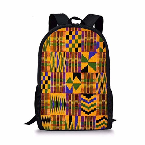Sannovo African Tribal Ethnic Print School Bag Teen Girl Fresh Canvas Women Student Backpack (Print Bag African)