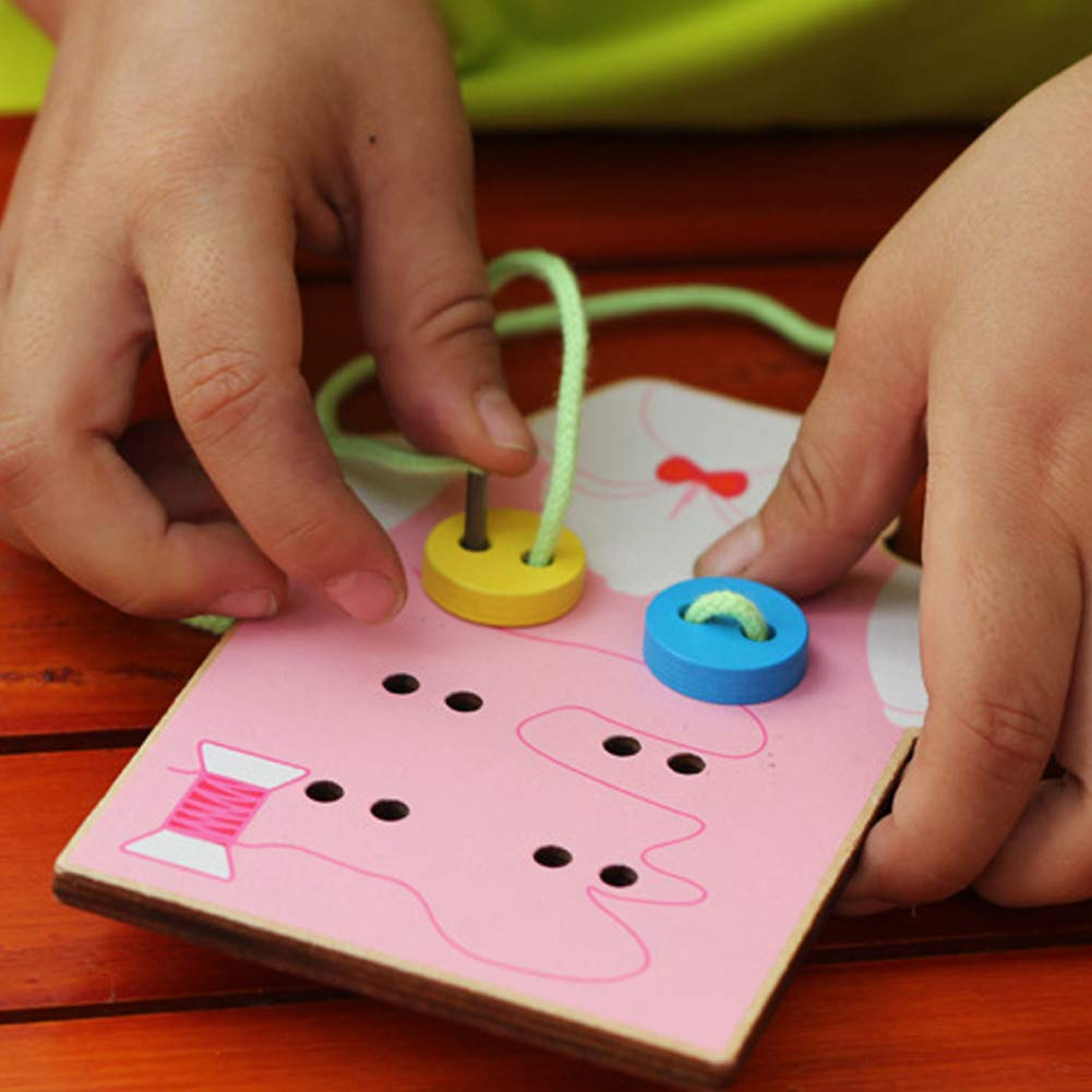potato001 Kids Children Wooden Sew-on Buttons Lacing Board Toddler Early Education Toy Green by potato001 (Image #4)