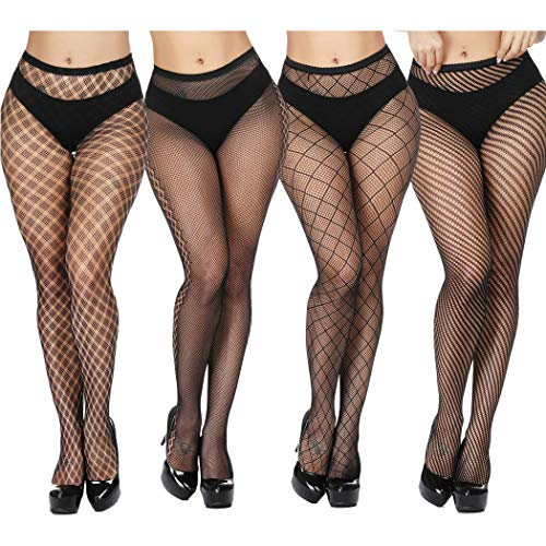 Fishnet Design (TGD Women's Fishnet Stockings Tights Sexy Suspender Pantyhose Thigh High Stocking 4 Pairs-Style1349)