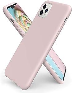 ORNARTO Liquid Silicone Case for iPhone 11 Pro Max, Slim Liquid Silicone Soft Gel Rubber Case Cover for iPhone 11 Pro Max(2019) 6.5 inch-Pink Sand