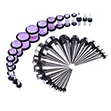 BodyJ4You 36PCS Gauges Kit Stainless Steel Tapers Purple Marble Style Plugs 14G-00G Ear Stretching Set