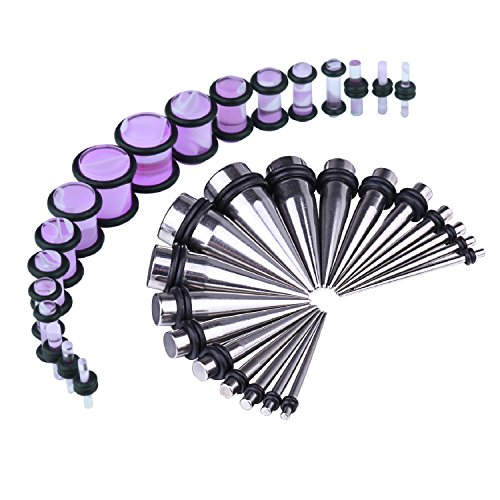 BodyJ4You 36PCS Gauges Kit Stainless Steel Tapers Purple Marble Style Plugs 14G-00G Ear Stretching Set by BodyJ4You