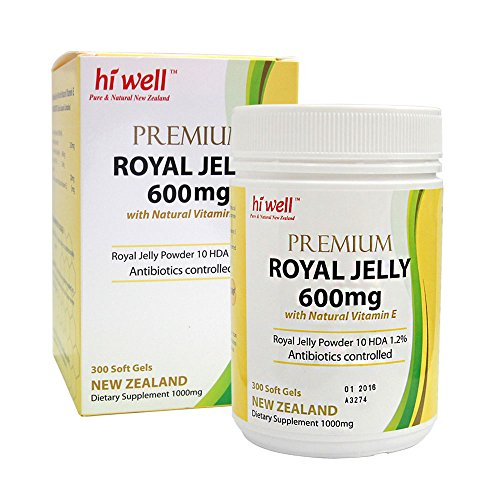 Hi Well Premium New Zealand Bee Royal Jelly 600mg with Natural Vitamin E 300 Soft Gels Immune Support Vitamins & Minerals by Hi Well