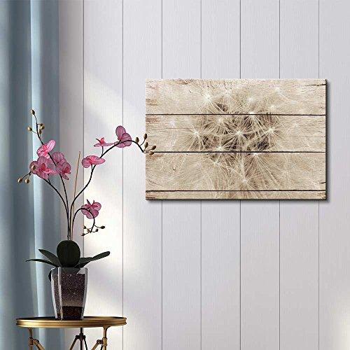 Closeup of Dandelion Fluff Rustic Floral Arrangements Pastels Colorful Beautiful Wood Grain Antique