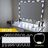Hollywood Vanity Mirror Lights, Makeup Vanity Led Mirror Light Kits, Lighting Fixture Strip Sets with Touch Dimmer and Power Supply for Bathroom Dressing Table 60 Leds 19.7ft/6M (Mirror not Include)