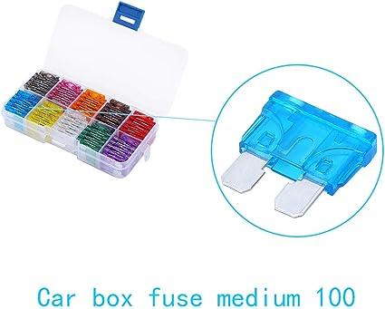 yosoo 100 Fusibles coche con una caja 2,3,5,7.5,10,15,20,25,30 35 Amp minisich erungen Auto fusible para: Amazon.es: Coche y moto