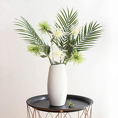 Plants and Greenery Ombre Kwai Leafs Branch Fake Palm Plants AWN Flowers for Wedding Arrangement Home Decoration Office (White&Green) ()