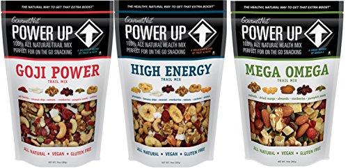 Natural Healthy Snacks Nuts Cashews Trial Mix Mega Omega Goji Power High Energy Gluten Free Vegan by GourmetNut by Gourmet Nut