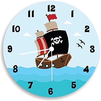 Amazon Com Pirate Ship Wall Clock Boys Bedroom Ocean