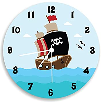 Amazon.com: Pirate Ship Wall Clock, Boys Bedroom Ocean Wall Decor ...