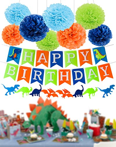 Wcaro Dinosaur Party Supplies Dinosaur Happy Birthday Decorations Kit Dino Jungle Jurassic Garland Photo Props Tissue Paper Pom Poms for Kids Birthday
