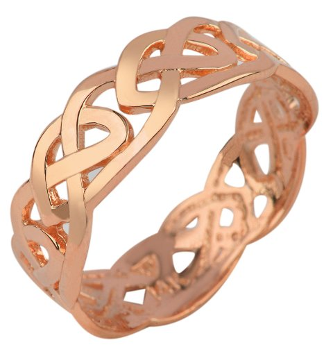 Women's 10k Rose Gold Celtic Wedding Band Trinity Knot Eternity Ring (7) (Gold Knot Ring Claddagh)