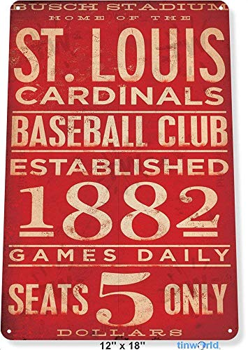 RTXS TIN Sign St. Louis Cardinals Card Metal Decor Art Baseball Shop Store A169 Tin Sign 7.8inch¡Á11.8inch