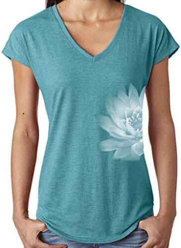 Yoga Clothing For You Ladies Lotus Flower V-neck Tee Shirt