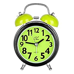 Alarm Clock for Bedrooms, Twin Bell Silent Desk Alarm Clock, Loud Kids Cute Silent Movement Alarm Clock for Kids, Battery Operated Bedside and Desk Clock with Backlight