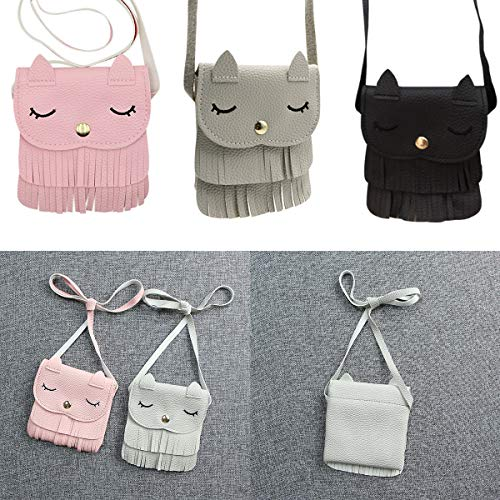 Cat Tiny Girls Shoulder Yodensity On PU Comfortable Carry Pink Soft Bag Mini Bag with Purse Leather Tassel wfgqxE5