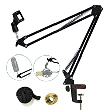 Etubby Upgraded Microphone Suspension Boom Scissor Arm Stand Adjustable Studio Desktop Mic Clip Holder for Blue Yeti, Snowball & Other Microphones