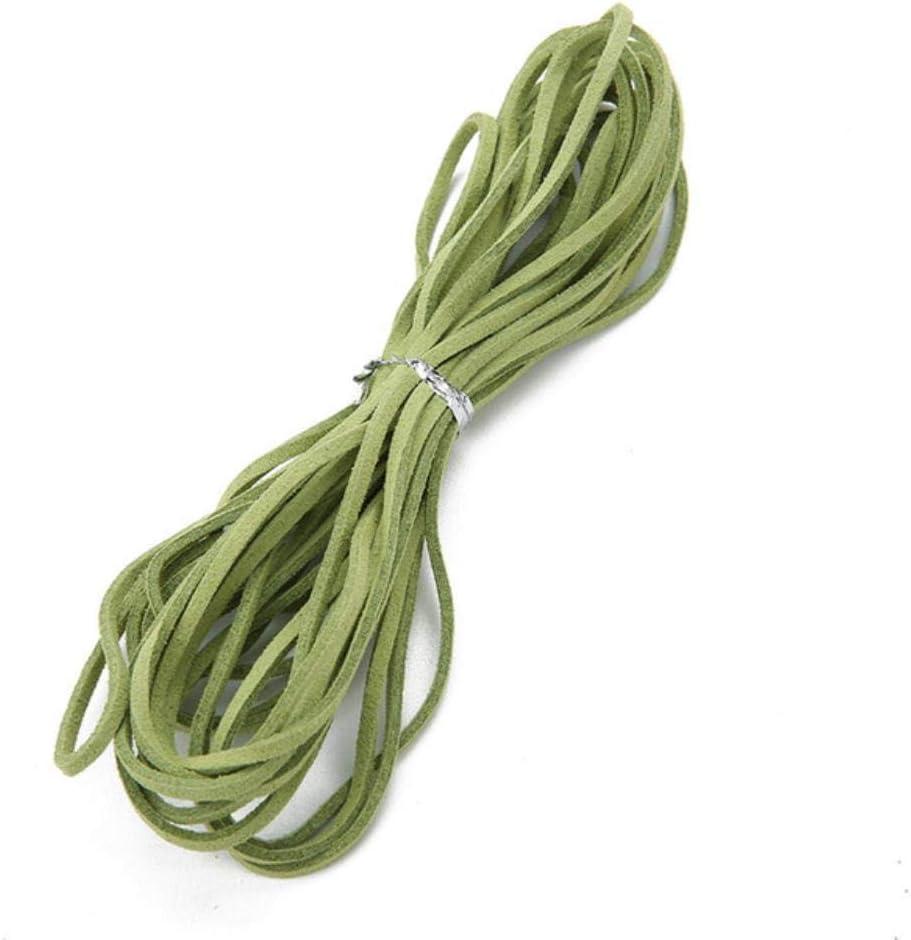 TKG 5m 3 mm en Mekaing DIY imitación Cuero Plano cordón de Cuero Anchura Cuerda de la Secuencia de Cuero Multicolores,Hierba Verde,3 mm 5 Metros