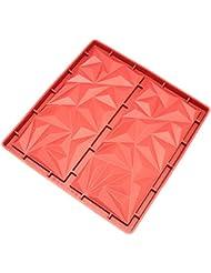 Freshware CB-811RD 2-Cavity Silicone Break-Apart Diamond Chocolate, Protein and Energy Bar Mold