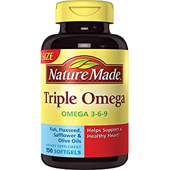 Nature Made Triple Omega 3-6-9 Softgels w. Fish, Flaxseed, Safflower & Olive Oils Value Size 150 Ct