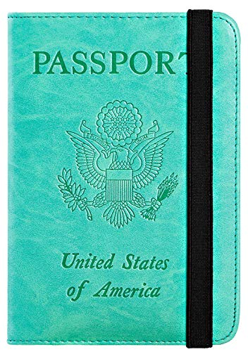 Passport Holder Cover Wallet RFID Blocking Leather Card Case Travel Document Organizer (Green) ()