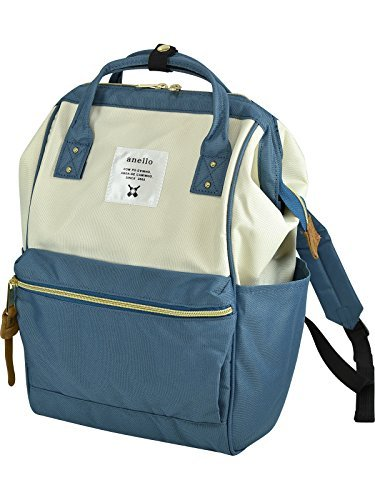 anello #AT-B0197B small backpack with side pockets (White & Steel blue) by Anello